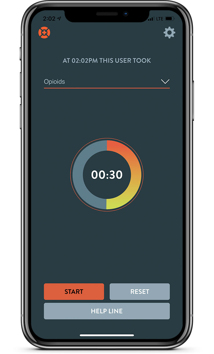 Lifeguard App Timer for Opioids, Display